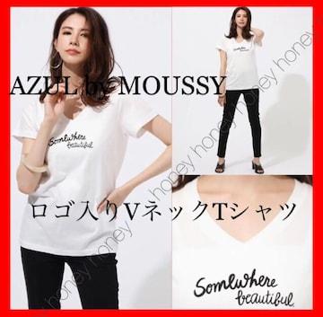 スッキリ小顔効果●moussy●ロゴ入りVネックTシャツ●白ホワイト