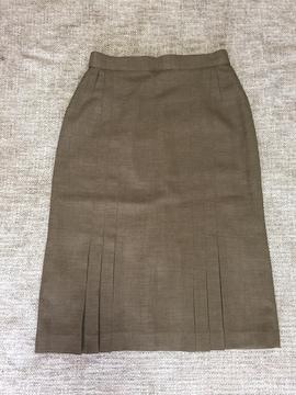 815.新品☆ひざ下スカート☆部分プリーツ☆カーキブラウン☆