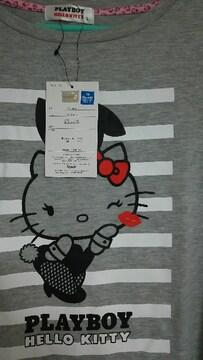レア 新品 タグ キティ PLAY BOY コラボ 半袖 T シャツ  可愛い ライトグレー