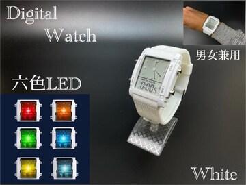 スポーツ腕時計 腕時計 時計 アナデジ式  LED デジタル 白