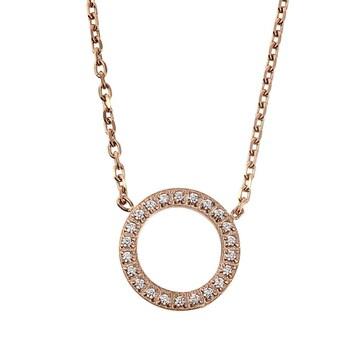 18金ピンクゴールドフィルド ダイヤ サークル ネックレス