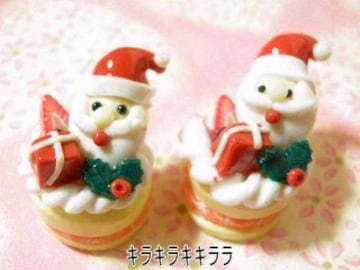 《New》クリスマスケーキ<樹脂粘土>★サンタ&ボックスver【2個セット】