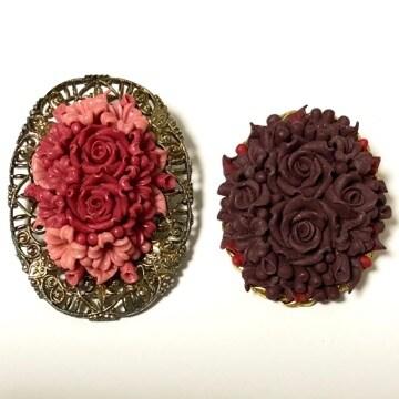 2個セット 新品 薔薇のパンフラワーブローチ