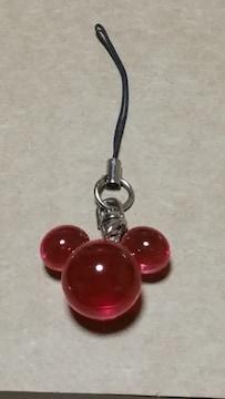 送料無料/ディズニーミッキーマウス型ピンクまん丸ストラップ