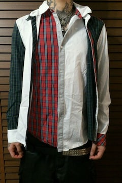 即決Fxxkレイヤードアシンメトリーチェックシャツ!UKパンクロックモッズテッズスキンズ