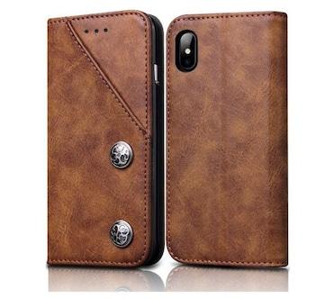 iphone x 手帳型ケース 全面保護 ブラウン