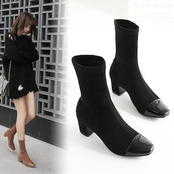 韓国風 ショートブーツ ブラック/キャメル ソックスブーツ レディース 太ヒール