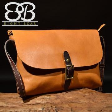 ◆牛本革 定番 フリップ式ショルダーバッグ ブラウン◆茶b59