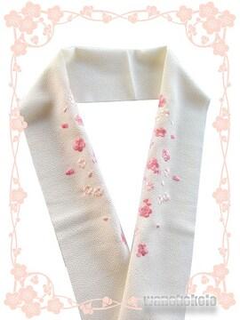【和の志】日本製◇ちりめん刺繍半襟◇ベージュ系◇CSH-12