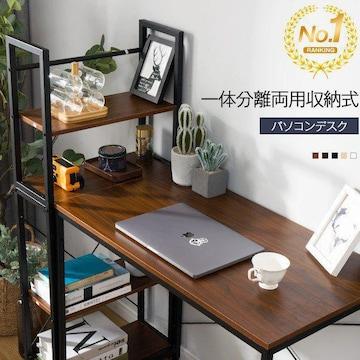 パソコンデスク 一体分割両用・ラック付き★カラー選択 /My