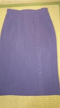 美品☆日本製。9号。紫。膝丈スカート
