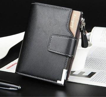 財布 二つ折り財布 レザー 札 小銭 カード お札入れ ブラック