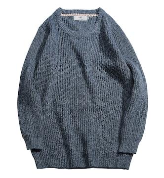 秋冬  セーター メンズ 畦編みニット 丸首 無地 Bl