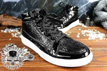送料込 ラメ ハイカット スニーカー 靴 メンズ シューズ 厚底 オラオラ ダンス 107黒26.0