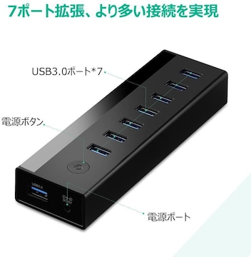 UGREEN USB ハブ7ポート 5Gbps高速 LED表示 USB 3.0ハブ