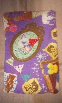 リバーシブル ティッシュケース 猫 パープル ブラウン ドット柄