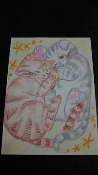 自作イラスト 子猫のお昼寝 オリジナル 手描きイラスト 同人