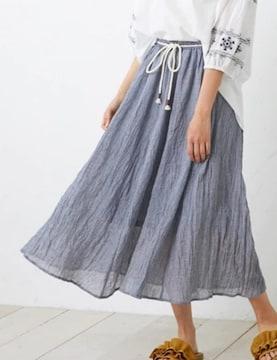 M★ふんわり軽いフレアロングスカート★ロープベルト付き★新品