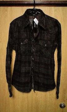 新品SHELLACシェラック 顔料コーティングチェックシャツジャケット 46