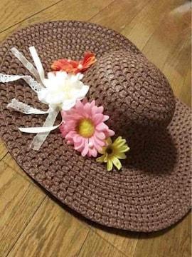 茶色にパール花リボンがたくさん可愛いツバ広麦わら女優帽子
