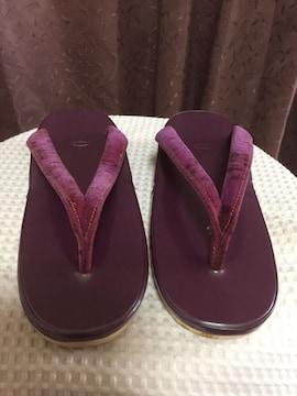 143.新品☆和装  ぞうり☆紫/パープル☆23センチ☆難有り