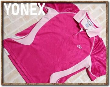 ヨネックス 刺繍入り切替半袖ポロシャツ ピンク