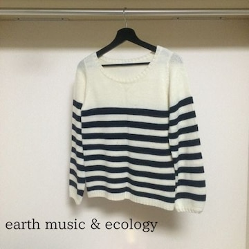 Earth music and ecology ボーダーニットトップス