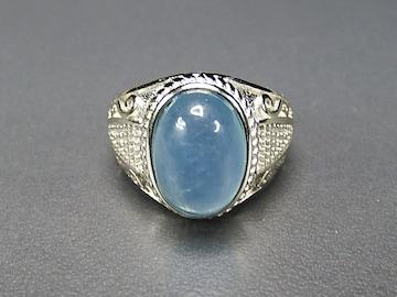 濃い目アクアマリン指輪リングAAAA天然石一点物21号石街U0243