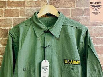 実寸SM/新品!ヒューストン US ARMY ミリタリーシャツ RUDO ロック モッズ バイカー