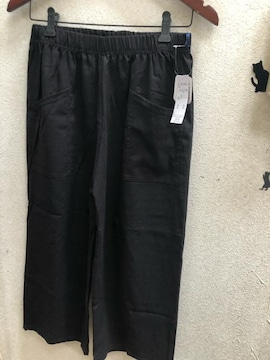 LL新品黒麻混8分丈ワイドパンツ