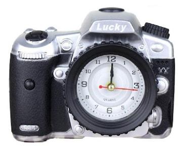 カメラ 風 目覚まし時計 シルバー