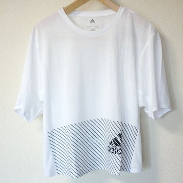 新品L★アディダス 白クライマライトロゴTシャツ送料無料