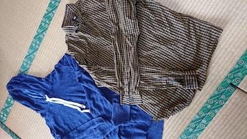 メンズ、パーカー☆チェックシャツ☆2枚セット☆H&M☆
