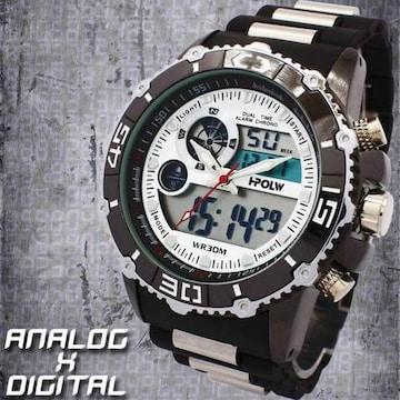 ★アナ&デジ・ダイバーズウォッチ風・MF・腕時計622WHBK