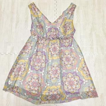 【美品】ボヘミアン花柄ノースリーブカットソー/rienda