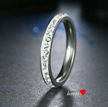 送料無料20号シルバースーパーCZダイヤフルエタニティリング指輪
