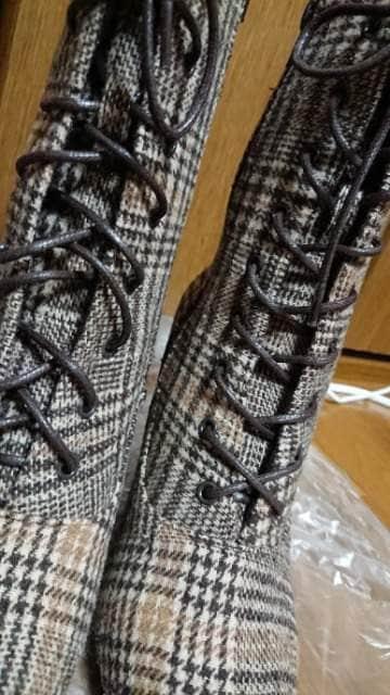ブーツ*ショート/ミドル*レースアップ*茶系チェック*L < 女性ファッションの