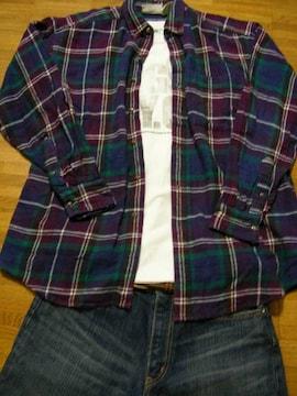 即決USA古着●鮮やかチェックネルシャツ!アメカジレア