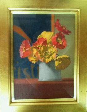 絵画 油彩 藤木俊明『花』真作保証