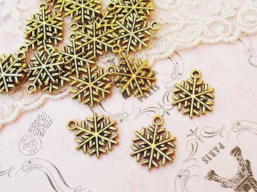 雪の結晶チャーム10個アンティークゴールド