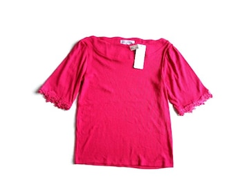 新品 定価1900円 CASTITA ボートネック レース使い  Tシャツ