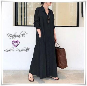新作★大きいサイズ5L ゆったりシャツワンピ/羽織*黒