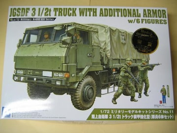 アオシマ 1/72 陸上自衛隊 3 1/2t トラック装甲強化型(隊員6体セット)
