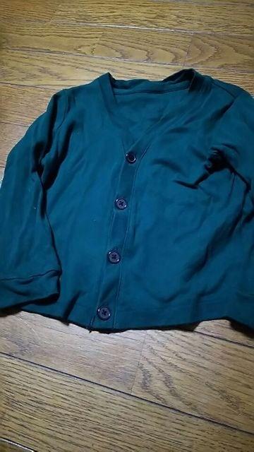 UNIQLO☆キッズ☆グリーン☆シンプルカーディガン☆size100  < ブランドの