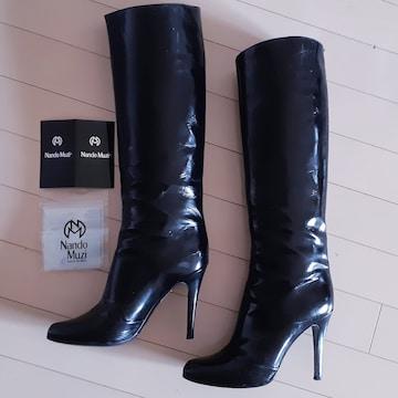 ◆美品◆NandoMuzi◆パテント◆ブラック◆ロングブブーツ◆37◆