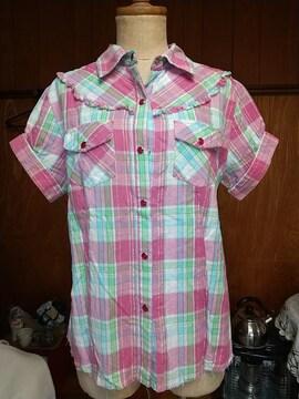 チェックの半袖シャツ used