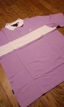 FARSCAPE デザインカノコ半袖ポロシャツ 紫白 2XLXXL 大きいサイズ