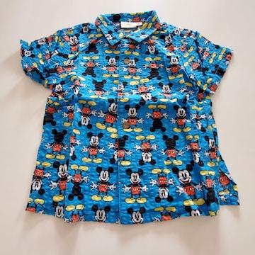 青にミッキー模様、半袖シャツ90