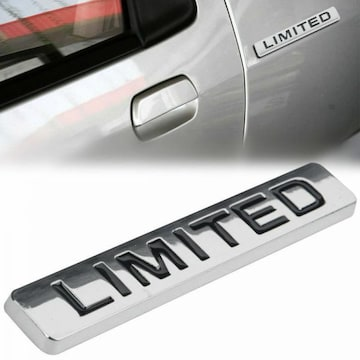 LIMITED リミテッド3Dエンブレム/シルバー×黒ステッカー