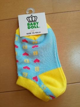 新品総柄スニーカーソックス 靴下/水色16〜18�pベビドBABYDOLLベビードール